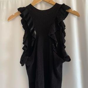 H&M BLACK ruffled sweater vest